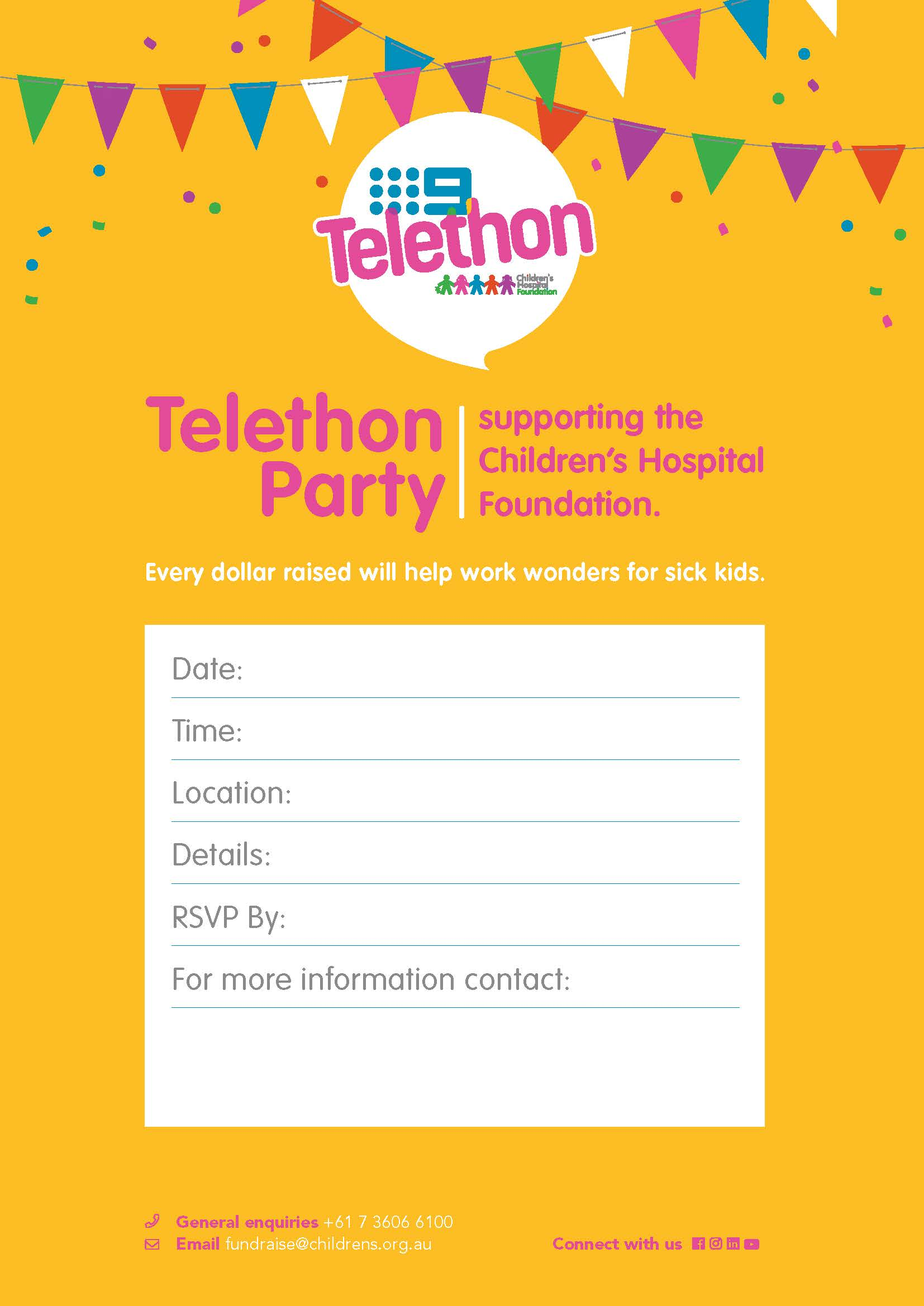 Telethon Party Promotion Invitation Poster 1