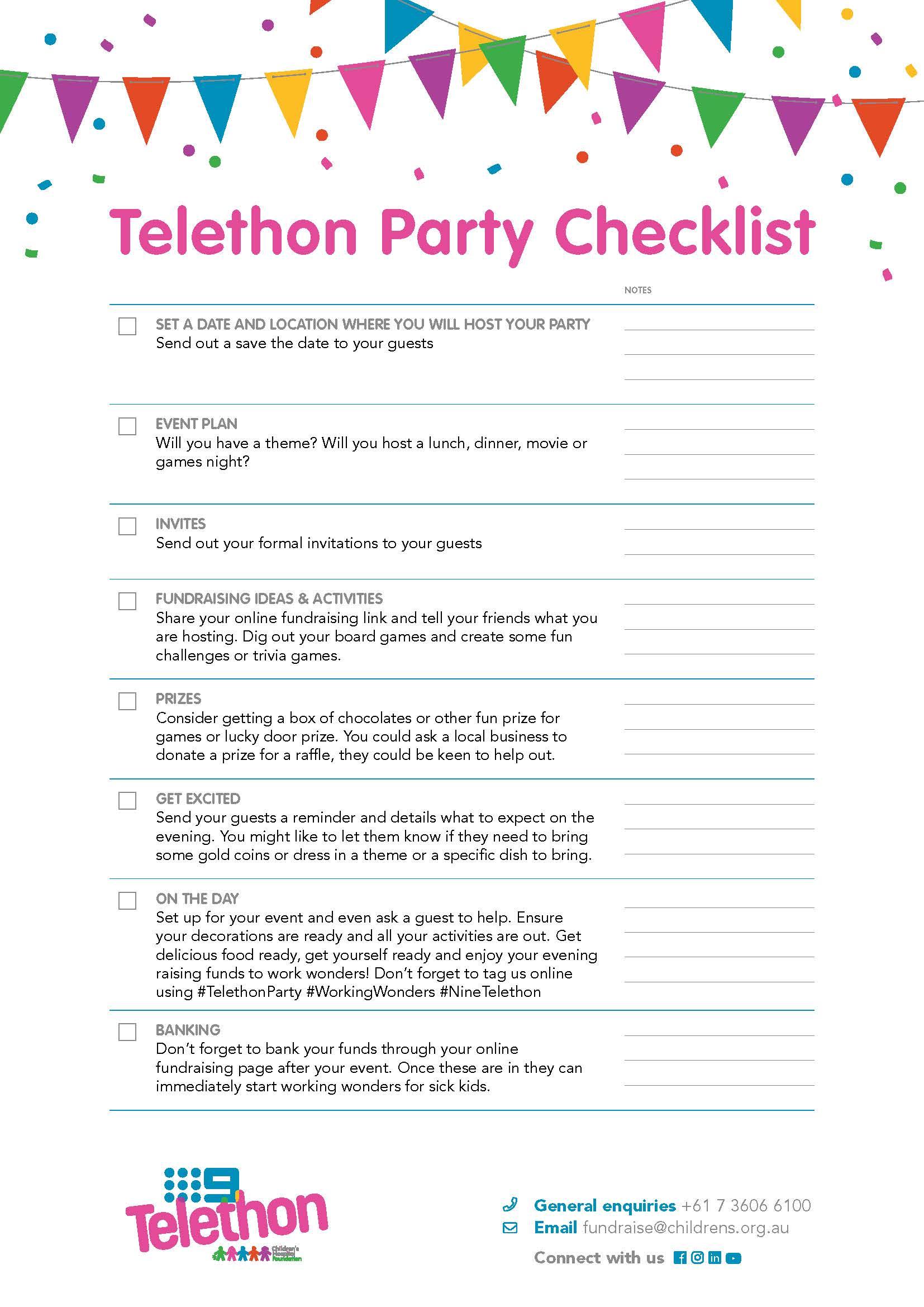 Telethon Party Checklist