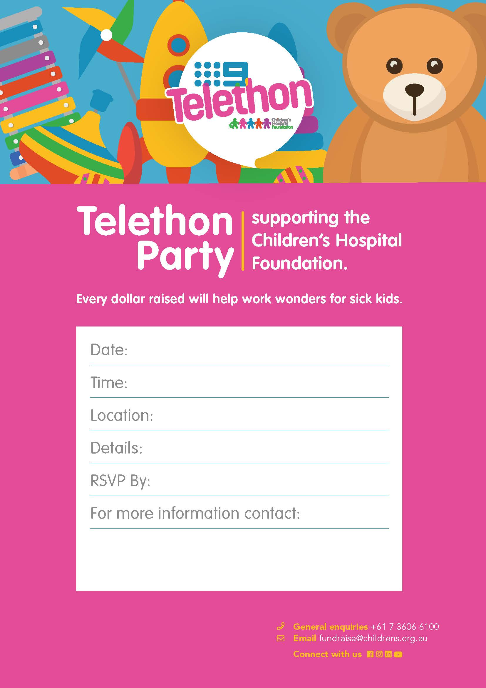 Telethon Party Promotion Invitation Poster 2