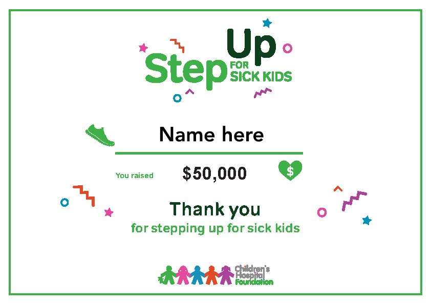 Step Up for Sick Kids - Workplace Certificates