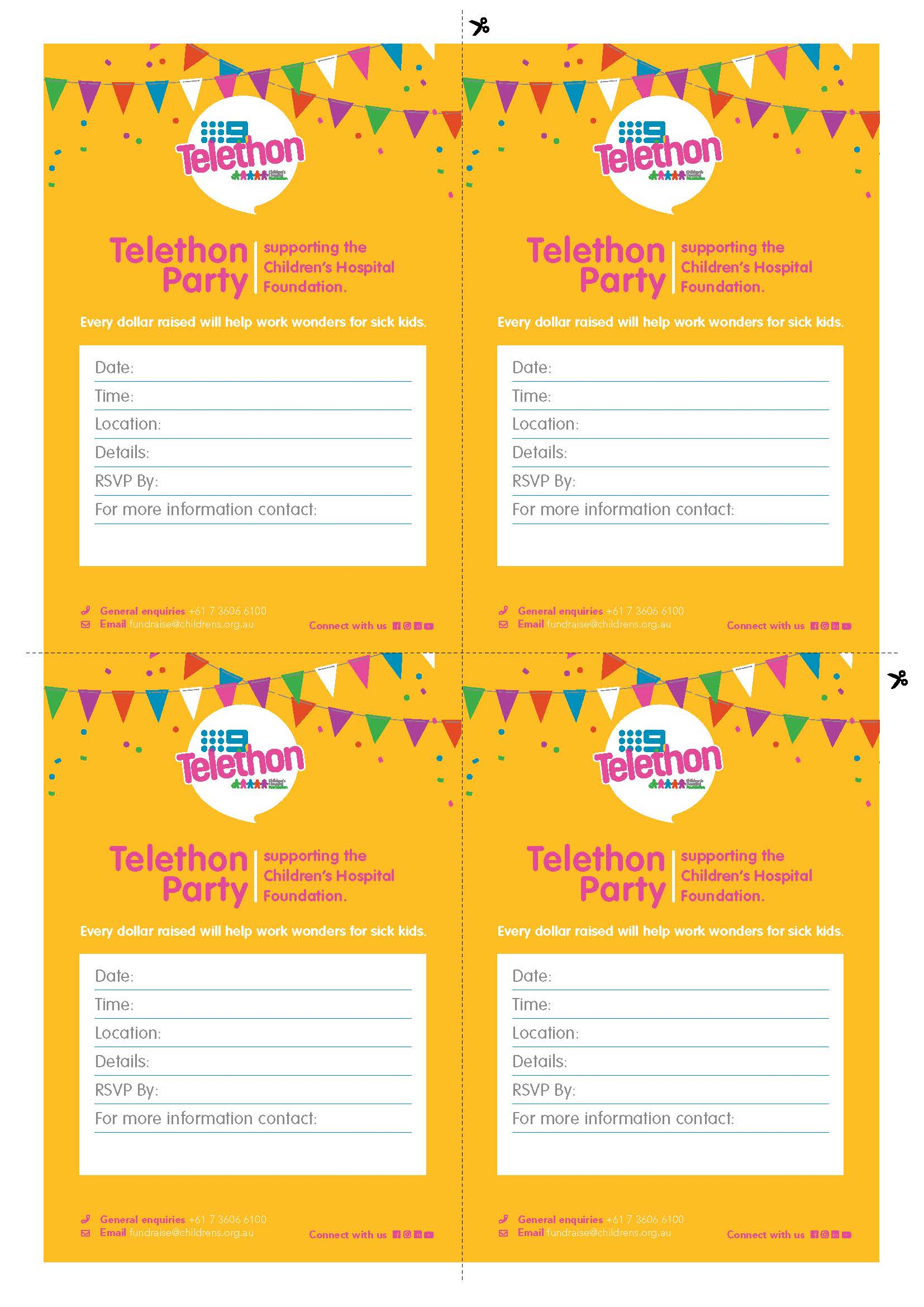 Telethon Party Invitations - Post