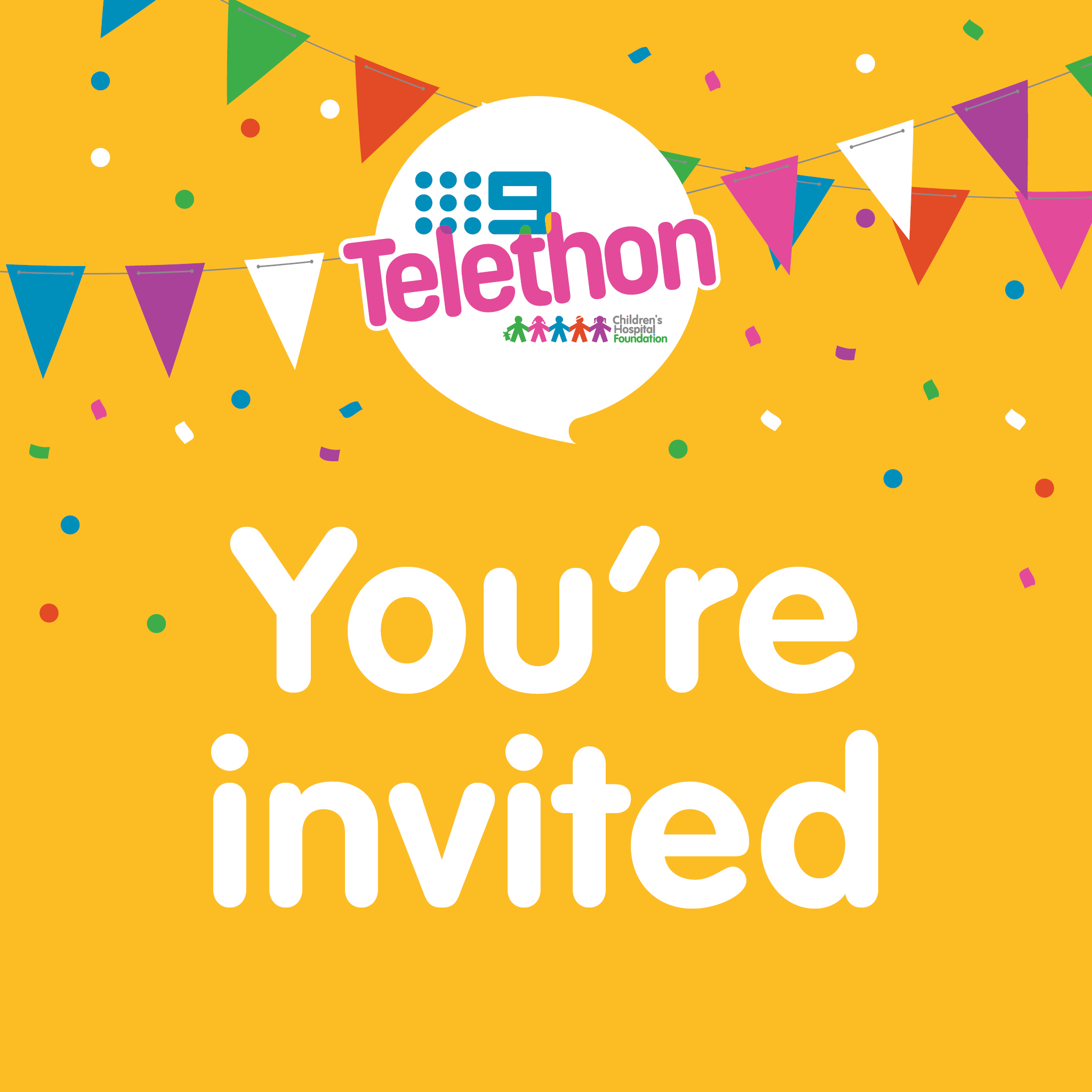 You're Invited - Telethon Party Social Tile