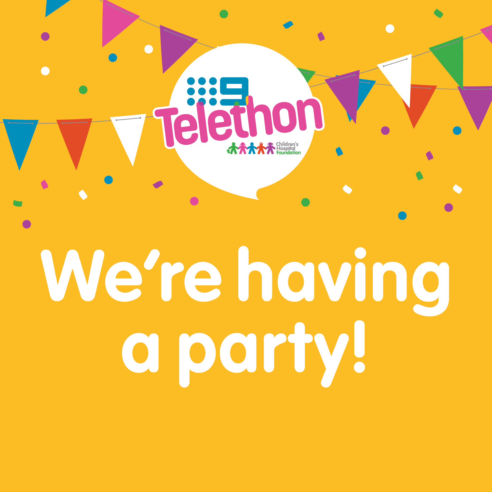 We're Having a Party  - Telethon Party Social Tile